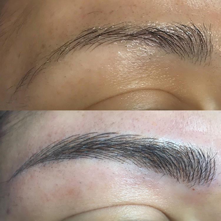 Another close up on gorgeous natural-look microblading (also known as an eyebrow tattoo, but unlike a tattoo microblading eventually fades and requires a touch-up every year or two). Each stroke is placed carefully to look like real hair!