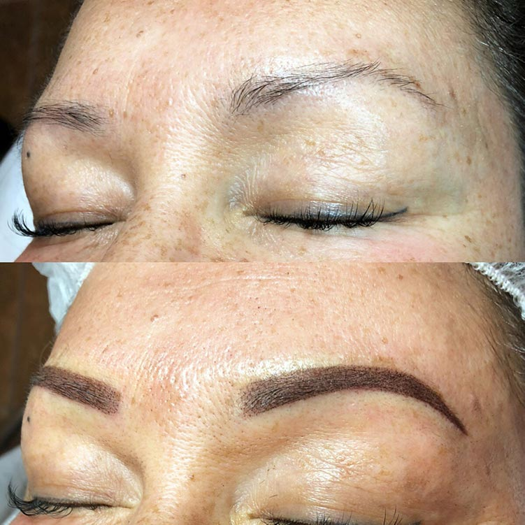 A picture of a powder ombré eyebrow tattoo for one of my clients