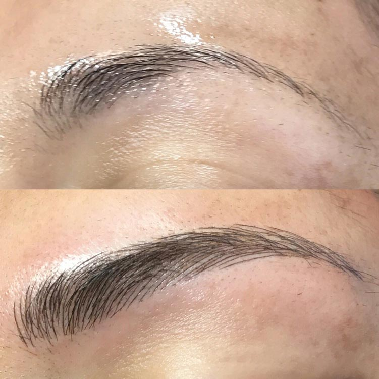 Beautiful, natural-look microblading eyebrow tattoo. Microblading and an eyebrow tattoo are generally the same thing.